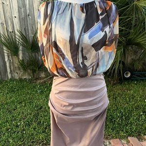 One piece geometric blouse and pencil skirt